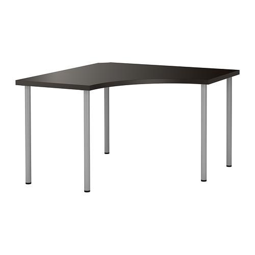 """IKEA """"ЛИННМОН / АДИЛЬС"""" Угловой стол, черно-коричневый, серебристый, 120x120 см"""
