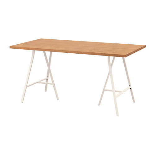"IKEA ""ГЕРТОН / ЛЕРБЕРГ"" Стол, бук, белый, 155x75 см"