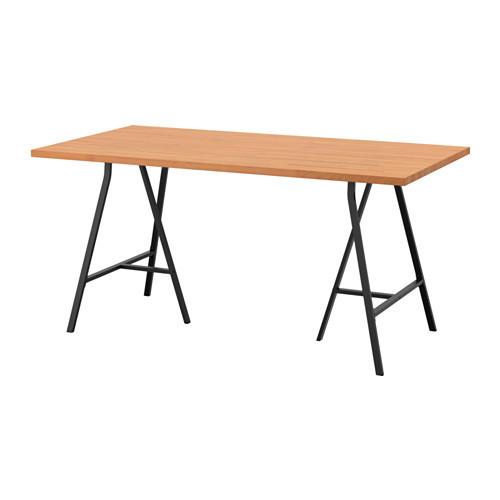"IKEA ""ГЕРТОН / ЛЕРБЕРГ"" Стол, бук, серый, 155x75 см"