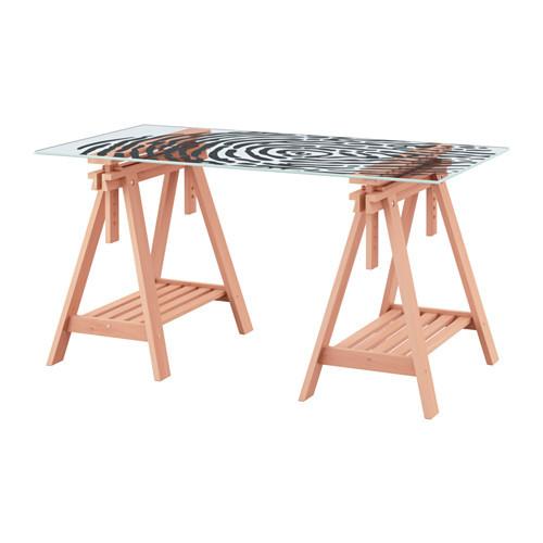 """IKEA """"ГЛАСХОЛЬМ / ФИНВАРД"""" Стол, стекло, папиллярные линии, бук, 148x73 см"""