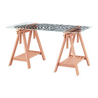 """IKEA """"ГЛАСХОЛЬМ / ФИНВАРД"""" Стол, стекло, папиллярные линии, бук, 148x73 см, фото 1"""