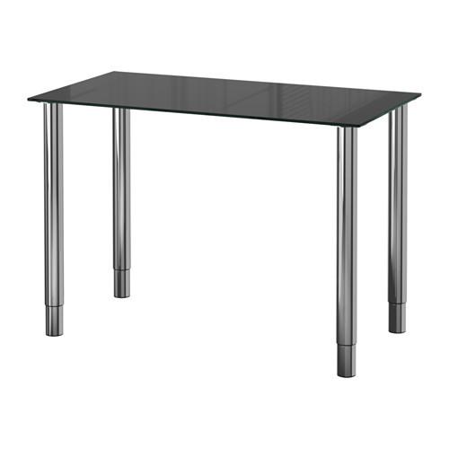 """IKEA """"ГЛАСХОЛЬМ / ГЕРТОН"""" Стол, стекло черный, хромированный, 99x52 см"""