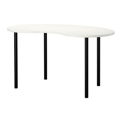 """IKEA """"ХИССМОН / АДИЛЬС"""" Стол, в форме кешью белый, черный, 140x75 см"""