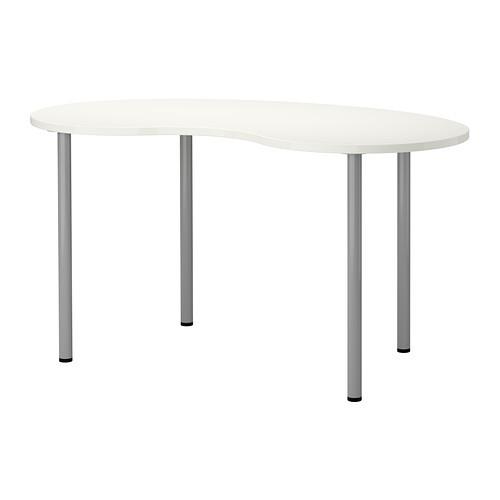 """IKEA """"ХИССМОН / АДИЛЬС"""" Стол, в форме кешью белый, серебристый, 140x75 см"""