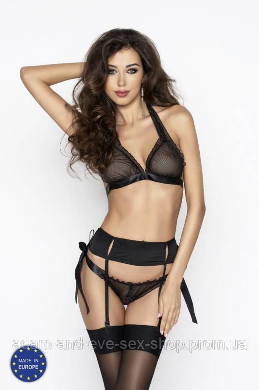 Сексуальный черный комплект белья Passion Erotic Line ULLA SET XXL\XXXL