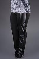 Модные брюки Сиеста (черный) с кожаными вставками большого размера 54-64 батал