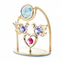 """Оригинальный сувенир Swarovski арка с фоторамкой """"два голубя на сердце"""""""