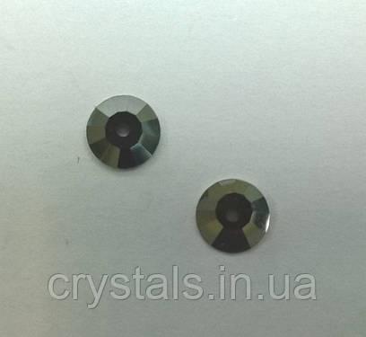 Пришивные паетки хрустальные Preciosa (Чехия) Jet Hematite 7 мм