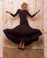 Длинное однотонное платье с длинным рукавом