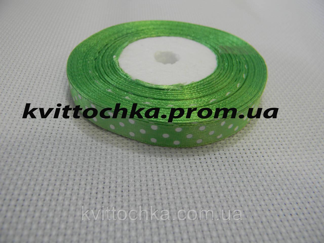 Атласная лента в горошек 1,5 см. (23 м.), цвет - салатовый