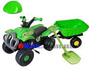 Квадроцыкл педальный Best Junior Rider зеленый + прицеп Польша OR