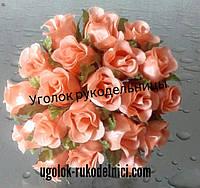Букет розы из атласа,персиковый