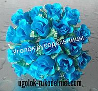 Букет розы из атласа,бирюза