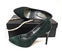 Туфли-лодочки из натур замша (тёмно-зелёные)