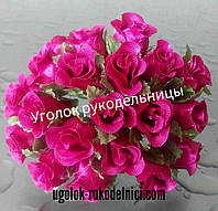 Букет розы из атласа,малиновый