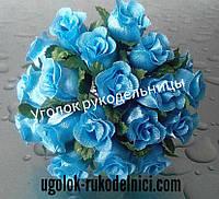 Букет розы из атласа,голубой