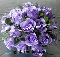 Букет розы из атласа,светло фиолетоый