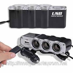 Тройник сплиттер в прикуриватель авто адаптер USB 0120