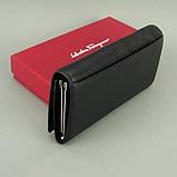 Кошелек женский кожаный черный 4381 деловой классический на кнопке из натуральной кожи, фото 2