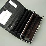 Кошелек женский кожаный черный 4381 деловой классический на кнопке из натуральной кожи, фото 3