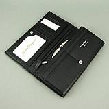 Кошелек женский кожаный черный 4381 деловой классический на кнопке из натуральной кожи, фото 4