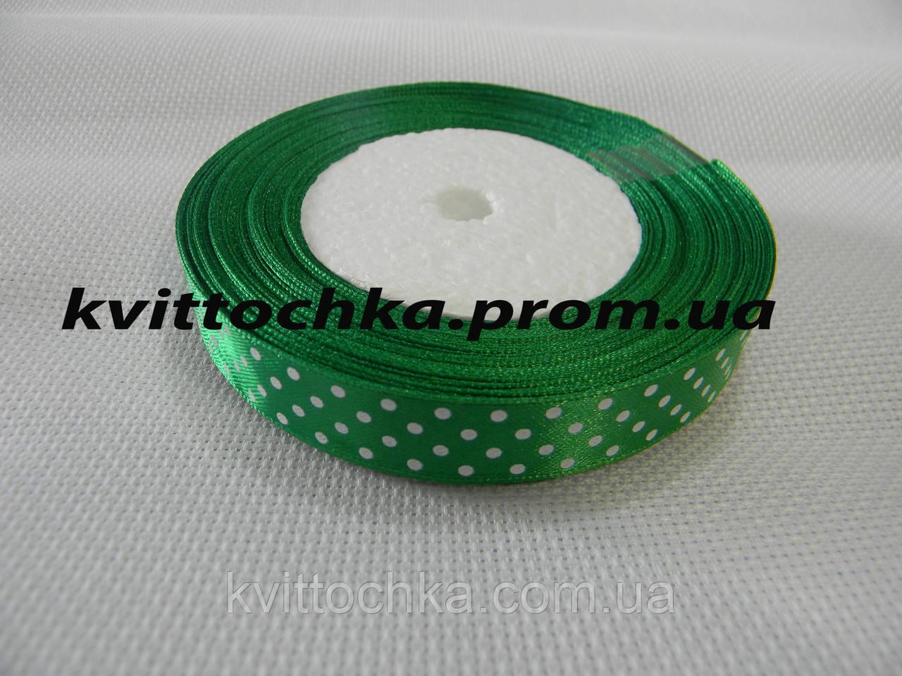 Атласная лента в горошек 1,5 см. (23 м.), цвет - зелёный