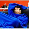 Плед с рукавами Snuggie Blanket синий и малиновый, фото 3