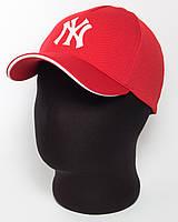 """Красная бейсболка """"NY"""" с белым кантом, лакоста пятиклинка"""
