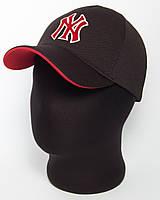 """Стильная черная бейсболка """"NY"""" с красным подкозырьком, лакоста пятиклинка"""