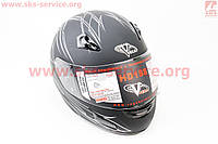 Шлем закрытый с очками черный матовый с белым принтом VEGA  размер XXL