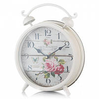 """Большие настольные часы с будильником """"Розы"""" 21 см"""