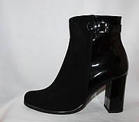 Молодежные женские весенние сапоги на каблуке из натуральной замши комбинированы натуральной лаковой кожей