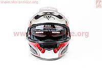Шлем закрытый с очками черно красный глянец VEGA  размер XXL