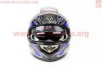 Шлем  с блютузом и очками синий с рисунком VEGA  размер  ХL