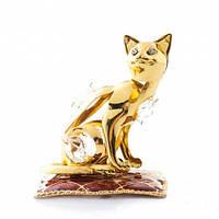 """Статуэтка с кристаллами """"Кошка на подушке"""" (копия Сваровски)"""