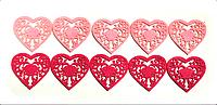 Декоративное сердце из фетра 5 х 5 см ярко-розового цвета