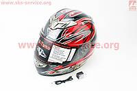 Шлем  с блютузом и очками черно красный  VEGA  размер М