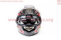 Шлем  с блютузом и очками черно красный  VEGA  размер ХL