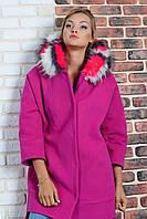 """Пальто женское кашемировое с капюшоном """"Фуксия"""" Scandal Sonya (Соня Скандал)"""