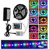 КОМПЛЕКТ Светодиодная LED лента 3528 RGB Все цвета 12V цветная 5м + пульт + блок, фото 2