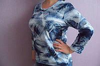 """Женская блуза рисунок """"Перо"""" в синих тонах"""