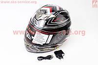 Шлем  с блютузом и очками  глянцевый с рисунком  VEGA  размер L