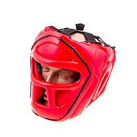Шлем для единоборств с пластиковой маской EVERLAST EV-5010 (красный, р.M)