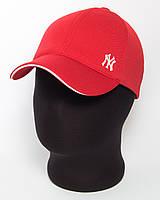 """Стильная бейсболка """"NY"""" красная с белым кантом (лакоста шестиклинка)"""