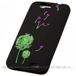 Чехол силиконовый для Huawei G7 Green Flowers Black