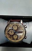 Мужские часы Curren кварцевые коричневый ремешок, циферблат коричневый с бежевым, корпус металл