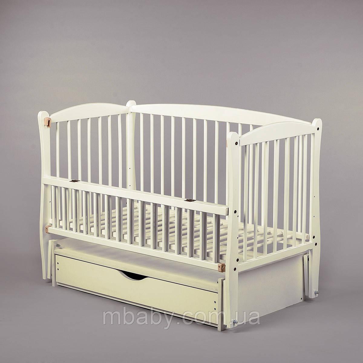 Детская кроватка Дубок Элит (цвет слоновая кость), с откидной боковины на маятнике с ящиком