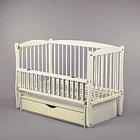 Детская кроватка Дубок Элит (цвет слоновая кость), с откидной боковины на маятнике с ящиком, фото 1