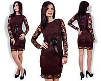 Платье гипюровое с поясом