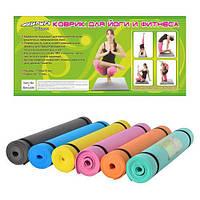 Коврик для занятия фитнесом Profi fitness MS 0205, йога мат MS 0205, прочный ПВХ